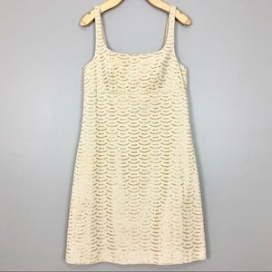 J. Crew Collection Eyelet Dress Gold Scallop Lace